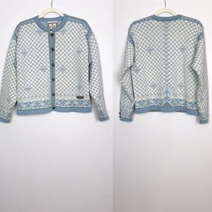 Dale of Norway Wool Button Cardigan Blue/Ivory M